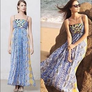 Ranna Gill Anthropologie Sunburst Tank Maxi Dress